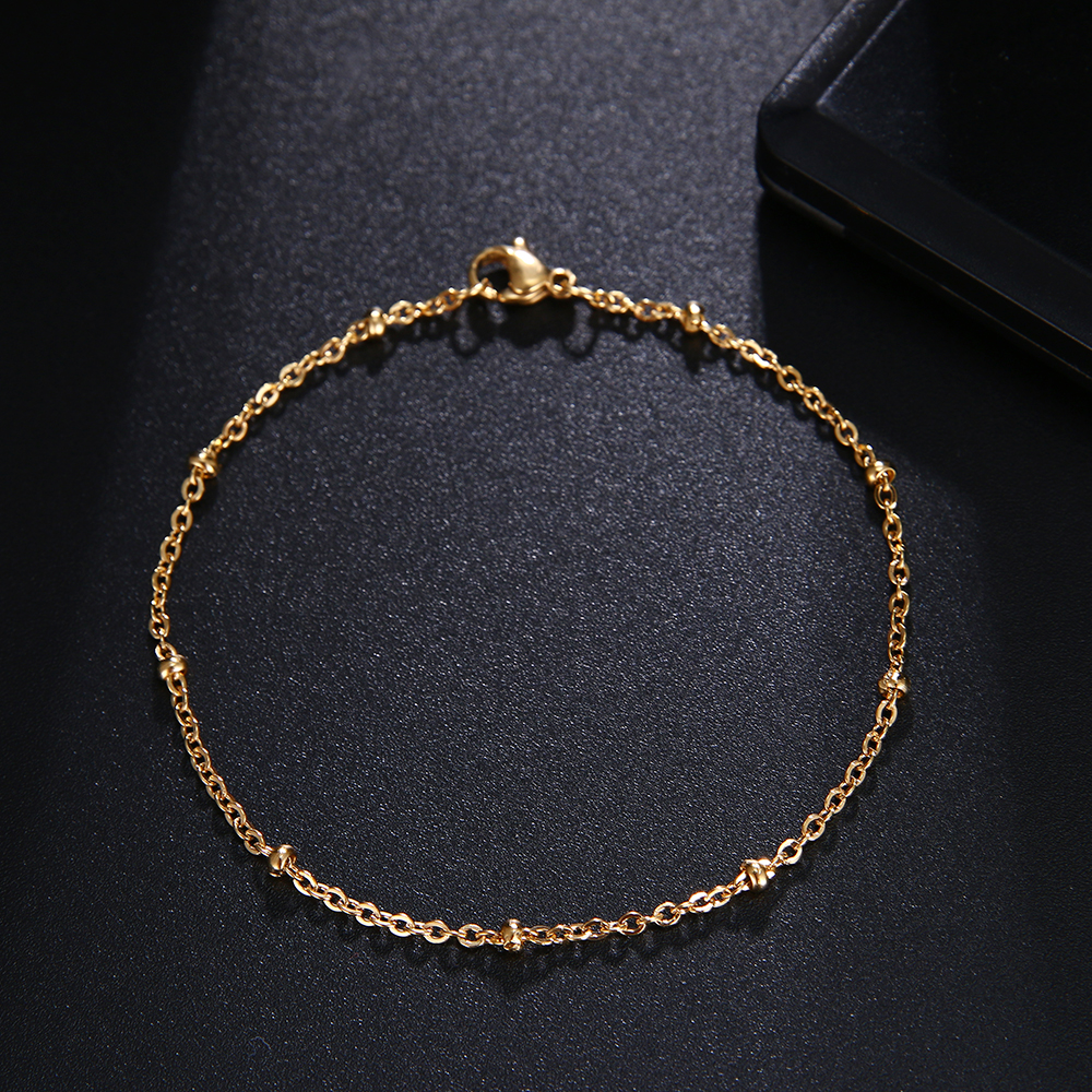CACANA Stainless Steel Chain Bracelets For Man Women Gold Silver Color For Pendant Gold beads Donot Fade Jewelry N1840