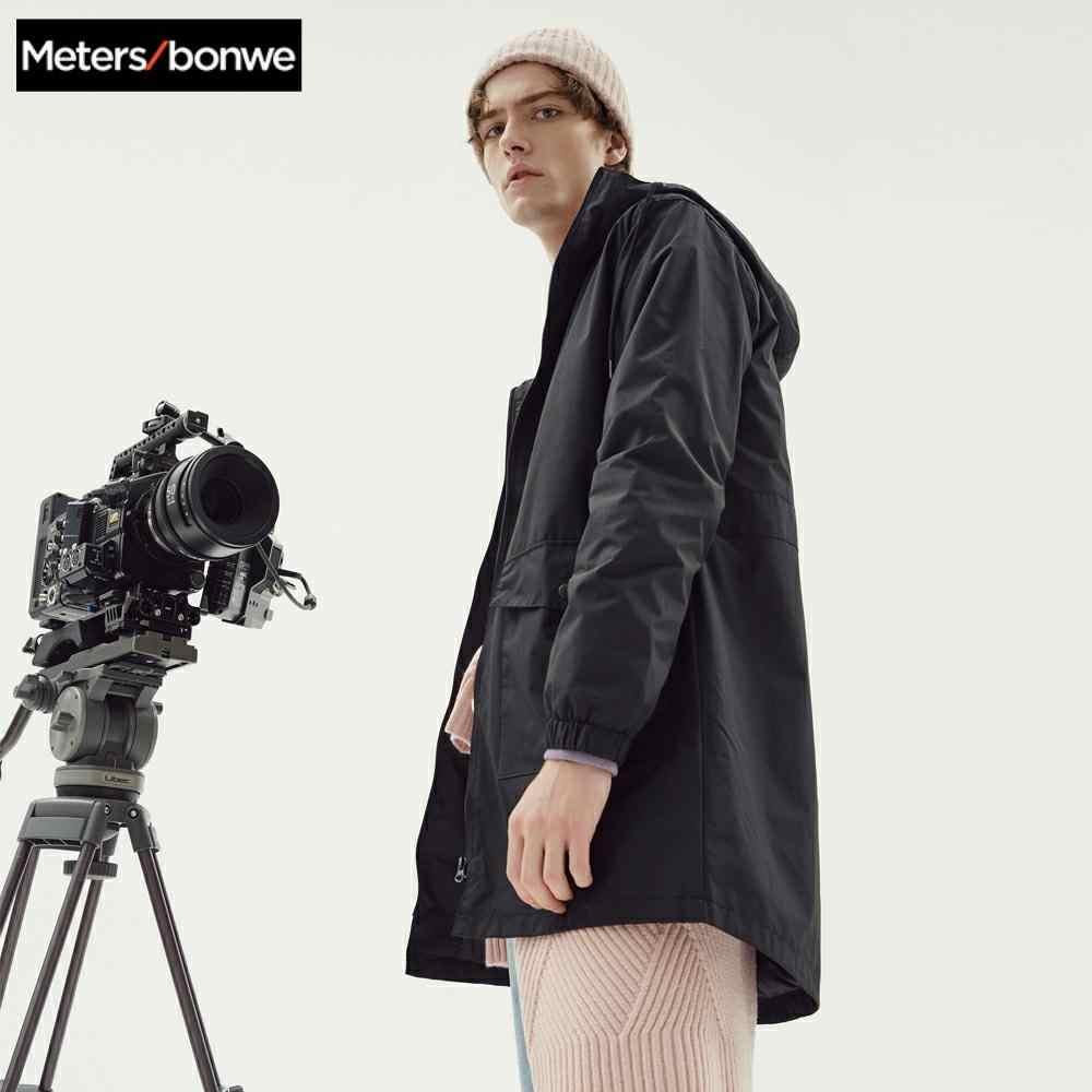 Metersbonwe الرجال الصيف سترة طويلة غير رسمية معطف واقٍ من المطر الرجال الموضة مقنعين الصلبة الدافئة سترة واقية جيب خندق سترة
