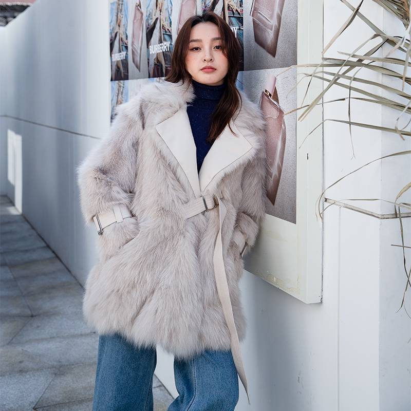 Natural Fur Coat Female Streetwear Winter Clothes 2020 Korean 100% Real Fox Fur Jacket Women Vintage Double Faced Fur Tops 1916