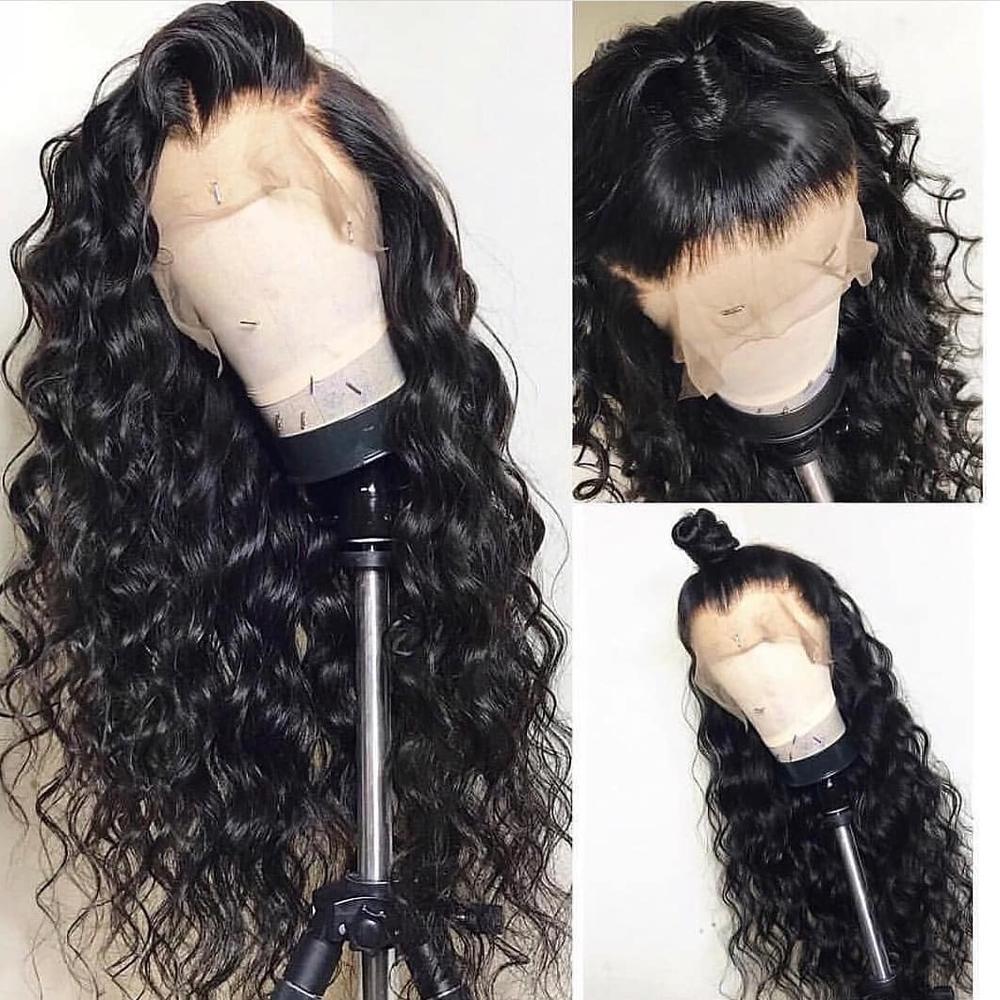 Парики из натуральных волос на фронтальной части, перуанские накладные волосы 180% плотности, для черных женщин, Remy Glueless, 360