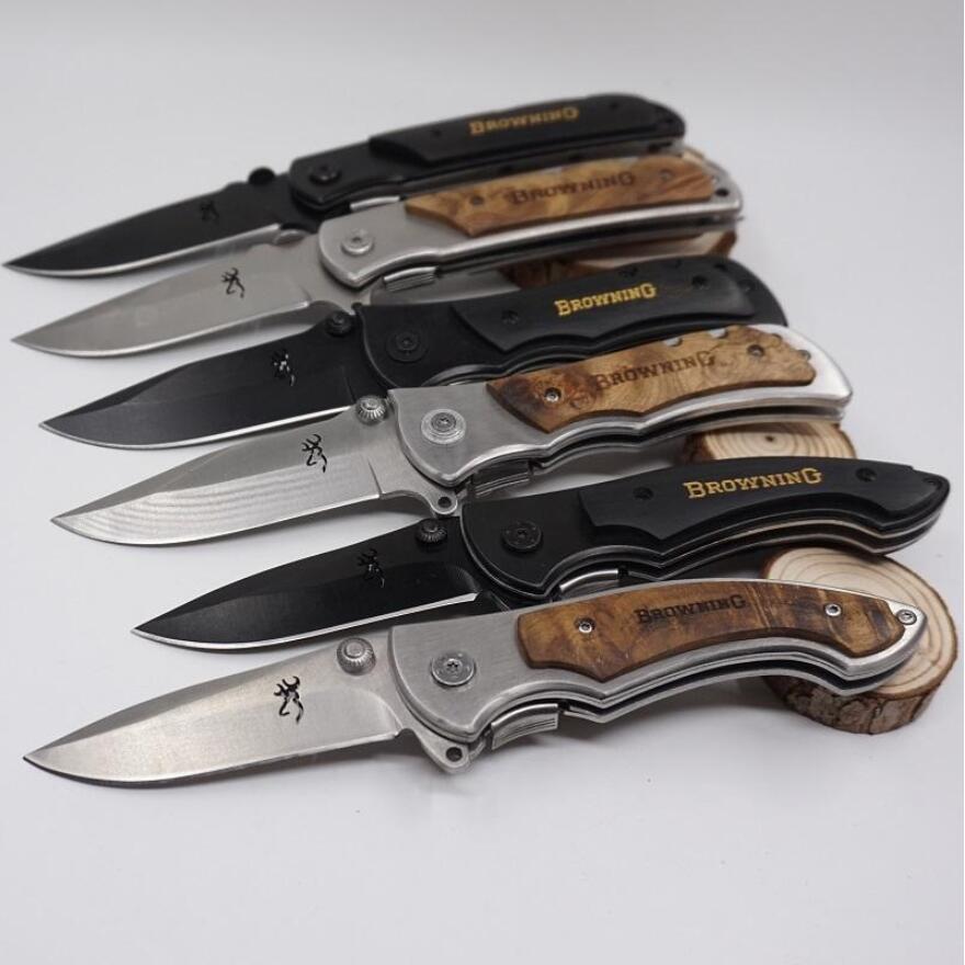 Free Shipping  Browning Knife 337/338/339 Folding Tactical Survival Knives 440C Blade Wood Handle Hunting Camping Pocket Knife