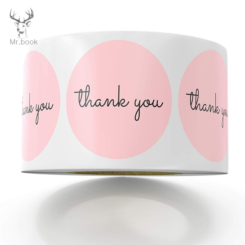 500 Labels Roll Round Pink Thank You Sticker Seal Labes Hand Made Paper Stationery Sticker Party Favors Label & Mailing Supplies