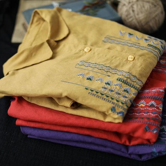 Plus Size Women Blouses Shirts New 2020 Autumn Vintage Embroidery High Quality Female Long Sleeve Cotton Linen Tops Shirt P1287 6