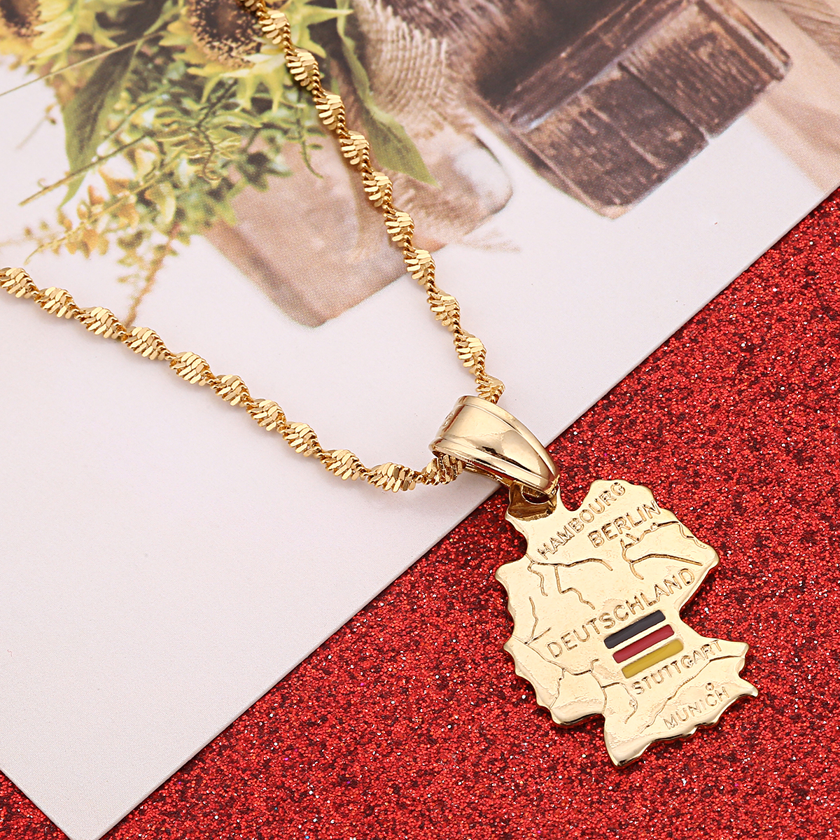 N1867 Germany Map Necklace Germany Jewelry Black Red Gold German Flag Colors Jewelry Patriotic Necklace Deutschland Kette