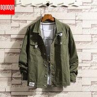 Black Cotton Autumn Jackets Men Streetwear Preppy Style Jacket Male Fashion Japanese Army Green Hip Hop Slim Fit Military Coat