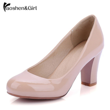 Size 31-47 Women High Heel Shoes Platform Pumps Heels Wedding Red Sole Shoes Bride Thick Heel Pumps Sexy Footwear Ladies G738 ankle strap buckle thick high heel ladies red pumps 2019 sexy wedding shoes bride mary jane shoes party heel shoes for ladies