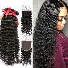 Wigirl 28 30 40 polegadas pacotes de cabelo humano com 4x4 fechamento do laço onda profunda 3 4 pacotes com fechamento extensão do cabelo encaracolado remy