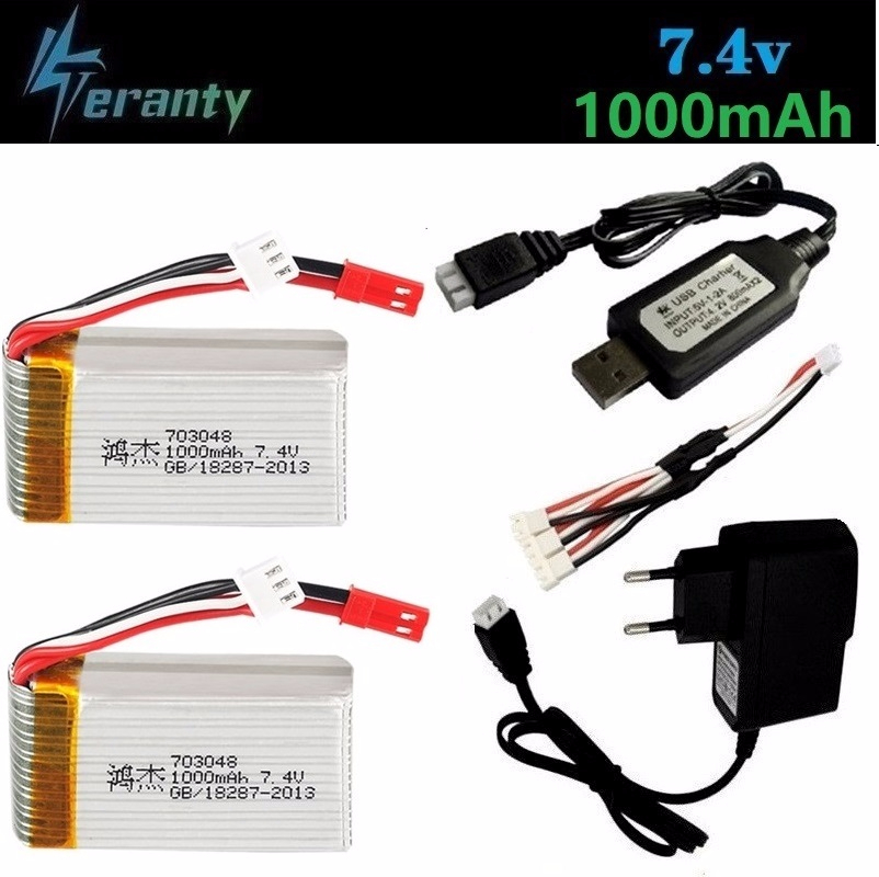 7.4v <font><b>1000mah</b></font> 703048 <font><b>Lipo</b></font> Battery + Charger For MJXRC X600 U829A U829X X600 F46 X601H JXD391 FT007 <font><b>2s</b></font> <font><b>Lipo</b></font> Battery RC toy battery image