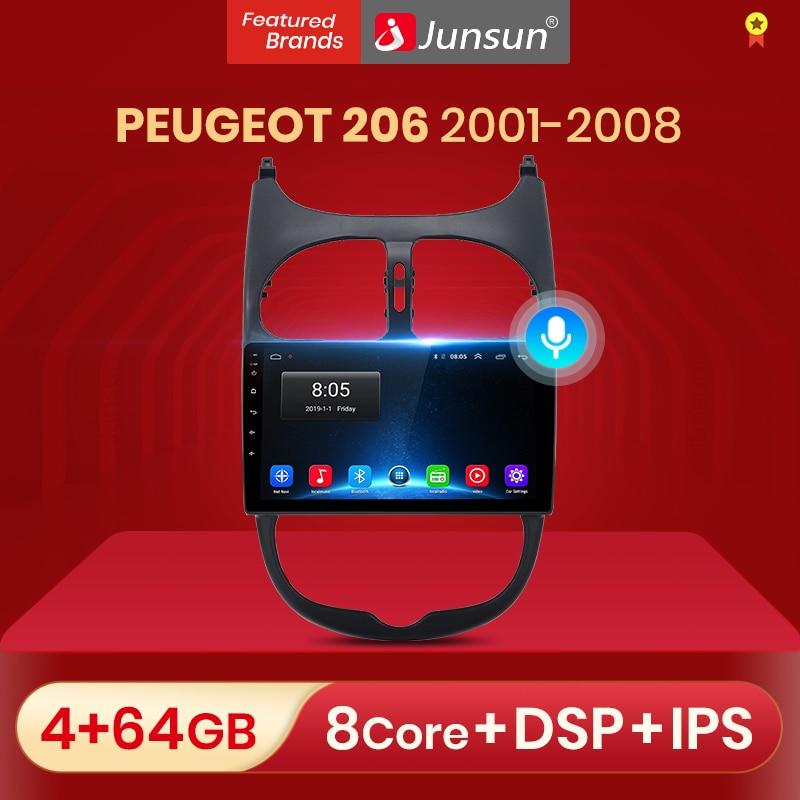 Автомагнитола Junsun, 2 din, 4 + 64 ГБ, Android 10, для PEUGEOT 206 2001 - 2008