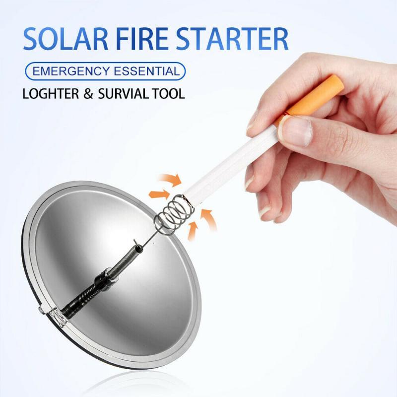 Outdoor Solar Lighter Camping Survival Fire Waterproof & Windproof Fire Starter Outdoor Emergency Tool Gear Accessories #ED