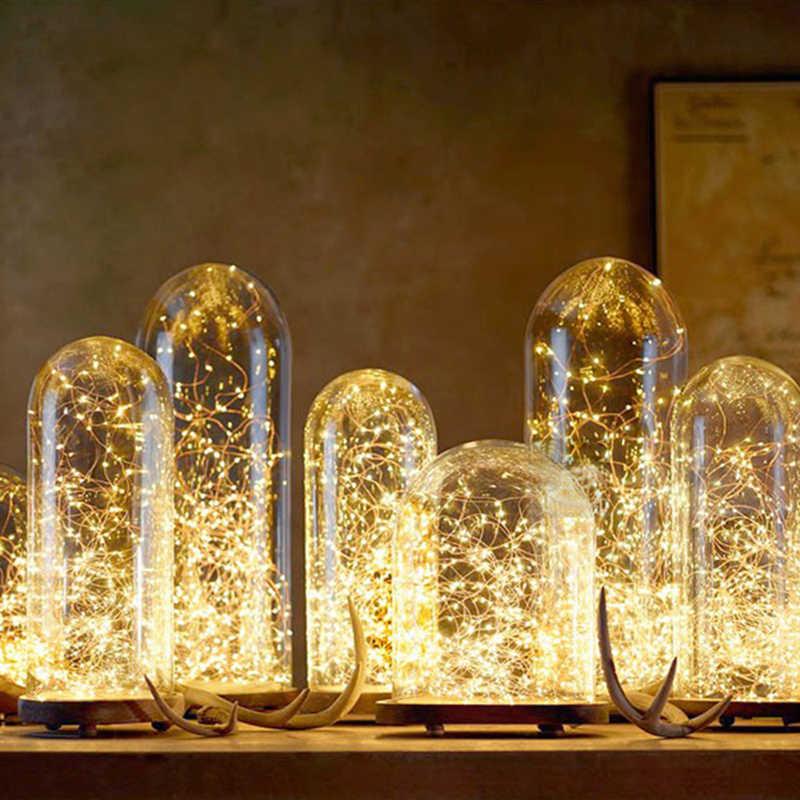 1-10 м светодиодная гирлянда, водонепроницаемая гирлянда, наружные лампы, питание от аккумулятора, новогодняя елка, для дома, украшения в помещении