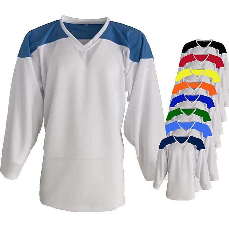التباين اللون هوكي الجليد جيرسي حجم الأطفال ، حجم الكبار ، حجم حارس المرمى ، يمكن تخصيص رقم اسم الشعار