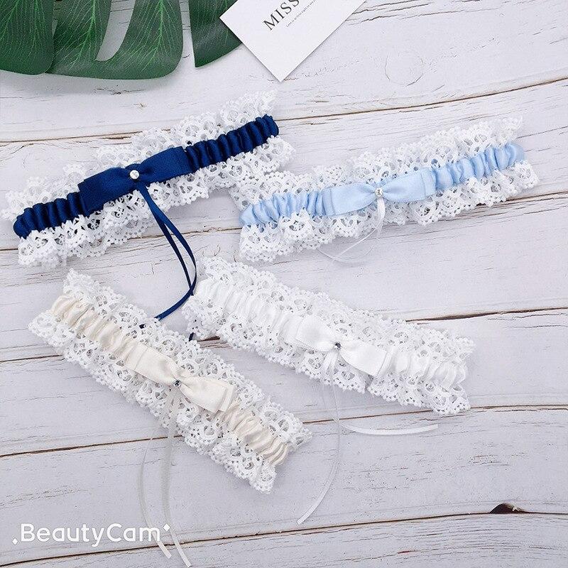 Красивая свадебная подвязка для невесты, свадебное украшение цвета слоновой кости, кружевные цветочные Стразы с бантом, Дамская подвязка, н...