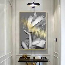 Постер laeacco с изображением женщины и пера модная Картина