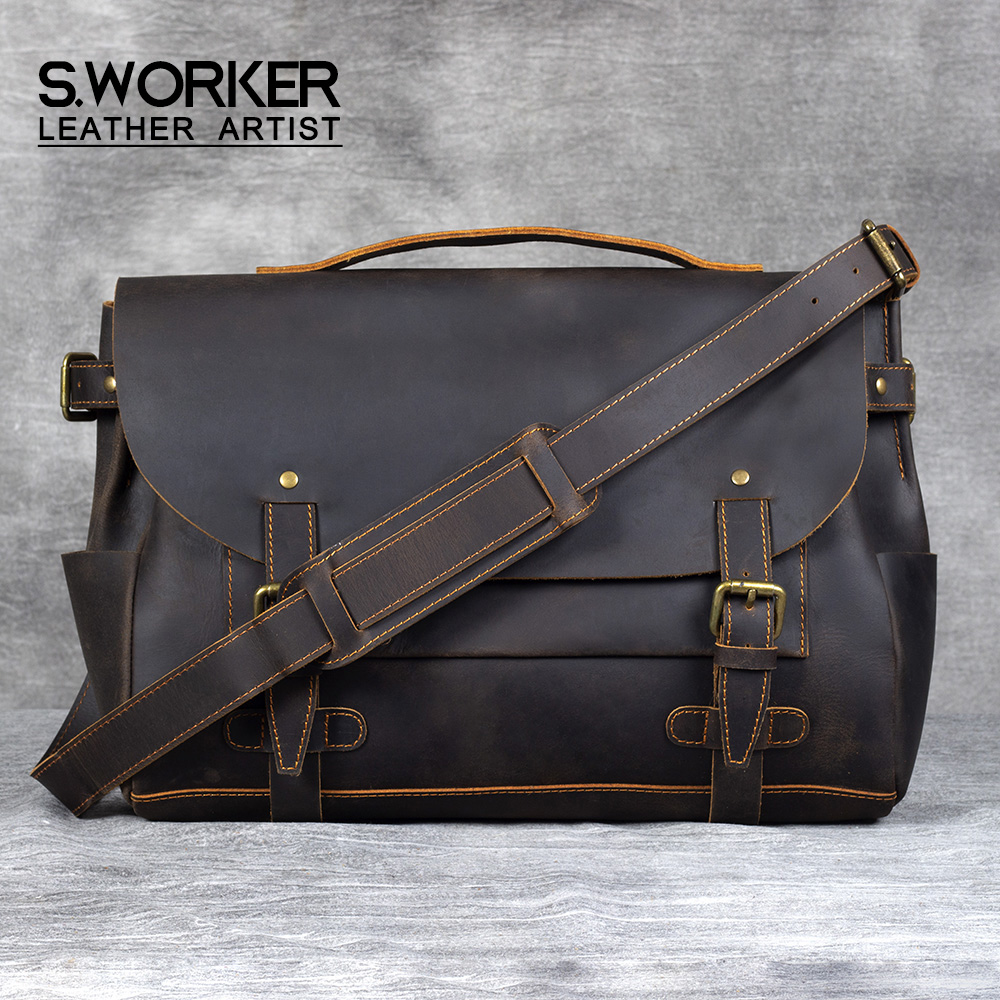 S.WORKER Vintage Genuine Cowhide Leather Men's Briefcase Laptop Messenger Bag Crazy Horse Leather Handbag Retro Concise Style