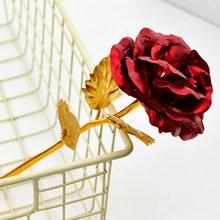Moda 1Pc de oro de hoja de Metal flores artificiales ramo de flores color rosa Decoración Para Boda de Día de San Valentín aniversario