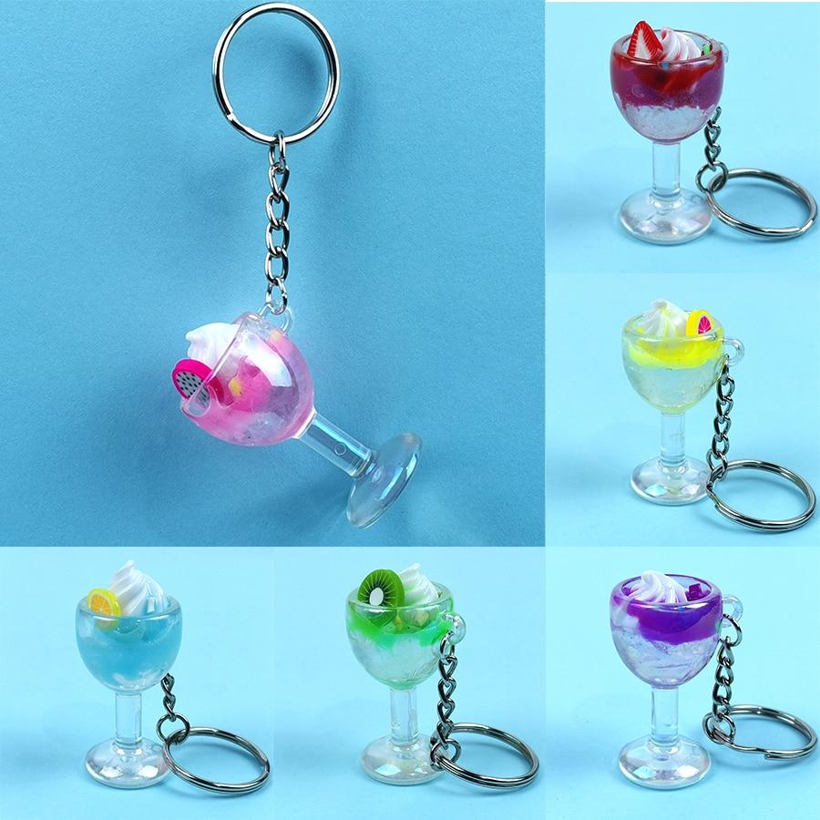 Acrylic Cute Keychain Ice Cream Pearl Milk Tea Drink Bottle Keyring Bag Pendant Couples Women Men Girl Gift Trinket Dropshipping