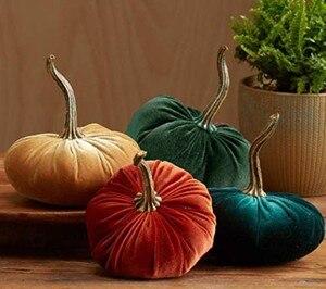 1Pcs Handmade Velvet Pumpkins Decor Super Soft Stuffed Pumpkin With Exquisite Halloween Holiday Diy Decor Подарок На Хэлло #Y5