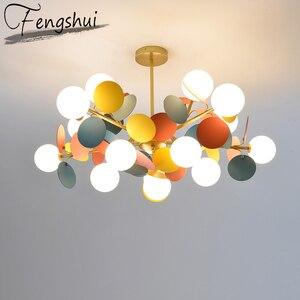Image 1 - Modern Iron Art Pendant Lights LED Pendant Lamp Lighting Colorful Living Room Bedroom Dining Room Loft Home Decor Light Fixtures