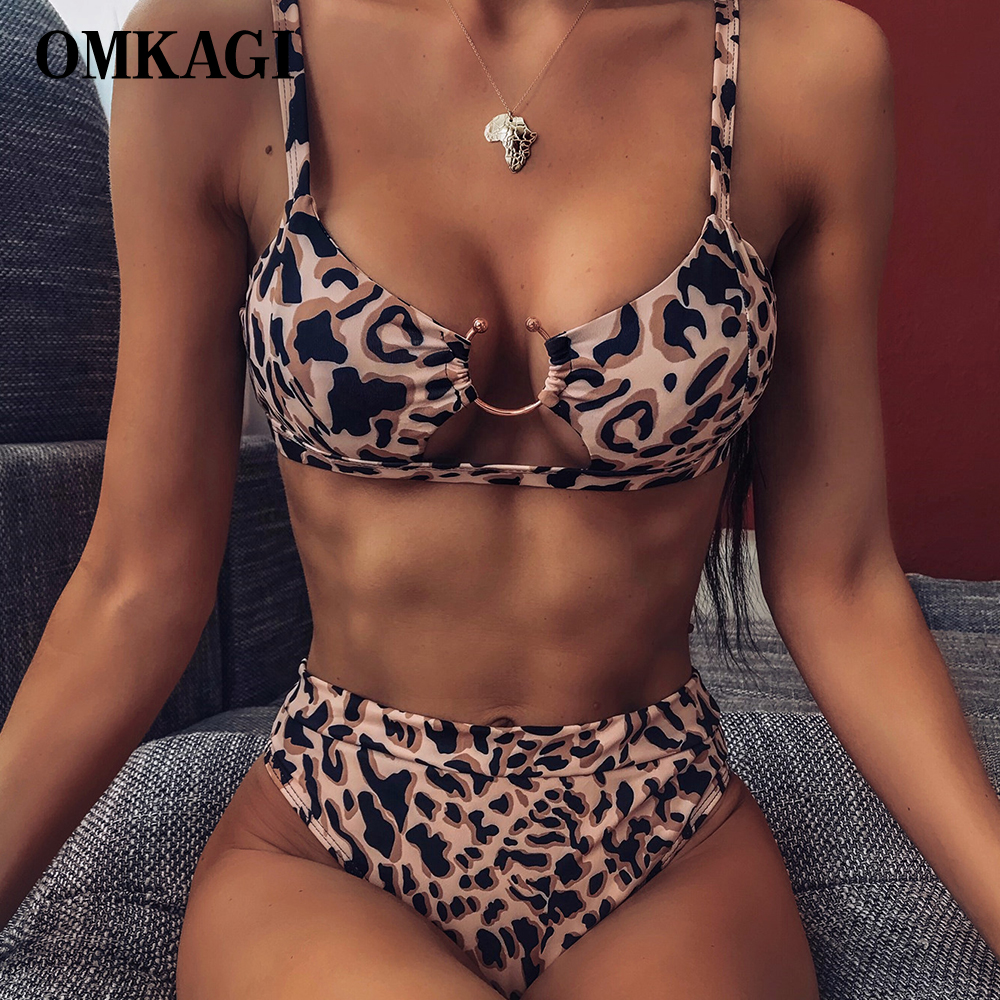 OMKAGI Bikinis 2020 Leopard Bikini Brazilian Swimming Womens Bathing Suits Sexy Push Up Swimsuit Micro Bikini Set Swimwear Women