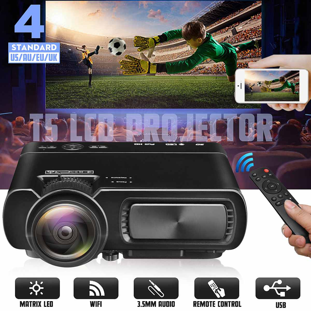 Mini projecteur T5 LCD 7000 Lumens 1080P Full HD Wifi bluetooth Home cinéma Android 6.0 haut-parleur Home cinéma