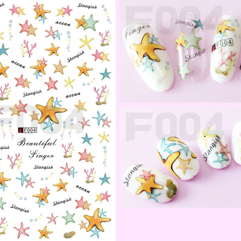 Manufacturers Wholesale 3D Gum Nail Polish Manicure Stickers Starfish Shell Nail Sticker DIY Paper Sticker Waterproof