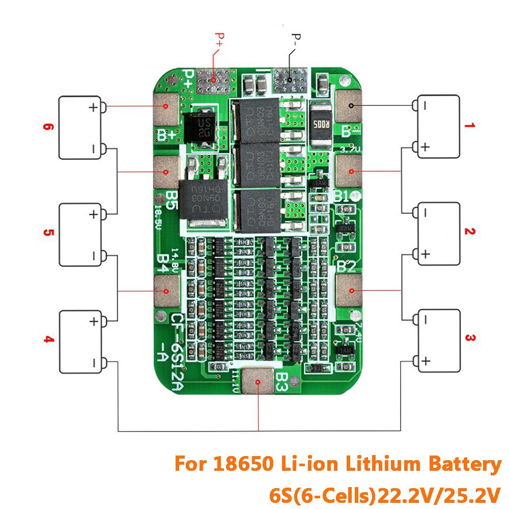 6S 15A BMS Protection PCB Board for 6 Packs Li-ion Lithium 18650 Battery Cell
