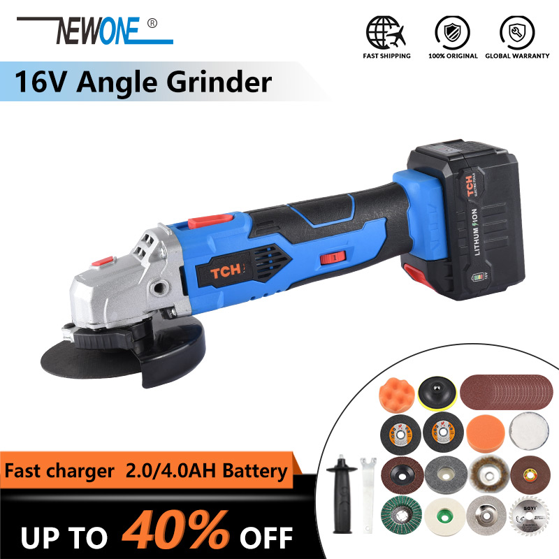 16V Cordless Lithium-Ion Angle Grinder Polisher Grinding Power Tool Cutting And Grinding Machine Rechargeable With 4.0AH Battery
