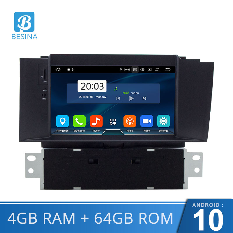 Besina Android 10.0 Car DVD Player For Citroen C4 C4L DS4 Multimedia GPS Navigation WIFI Octa 8 Cores 1 Din Car Radio Auto Audio image