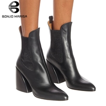 BONJOMARISA New 33-43 Luxury Brand Designer Booties Ladies Quality Genuine Leather Ankle Boots Women 2019 High Heel Shoes Woman