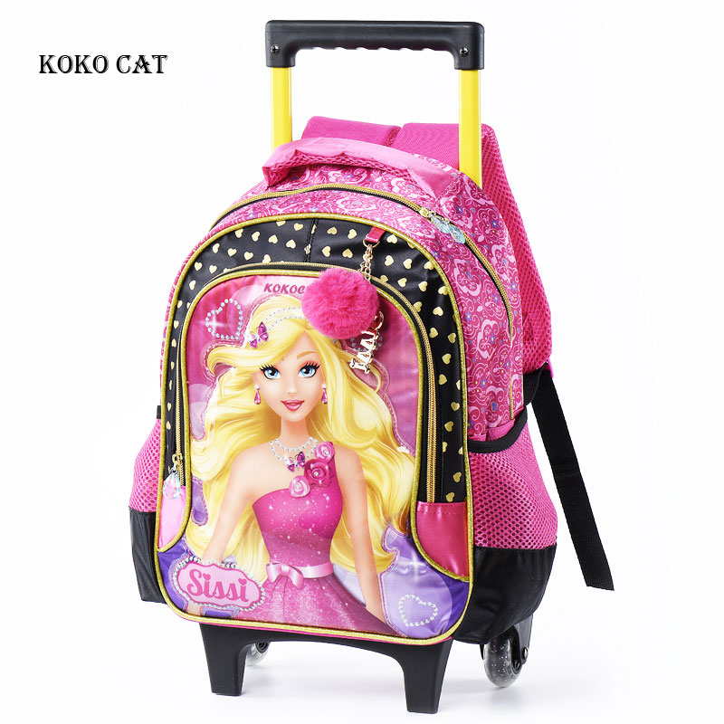 17 Inch Kids Rolling Backpack Girls Roller School Bag Student Luggage Book Bags