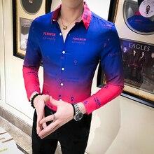 Fashion 2020 Spring Long Sleeve Floral Shirts For Men Slim F