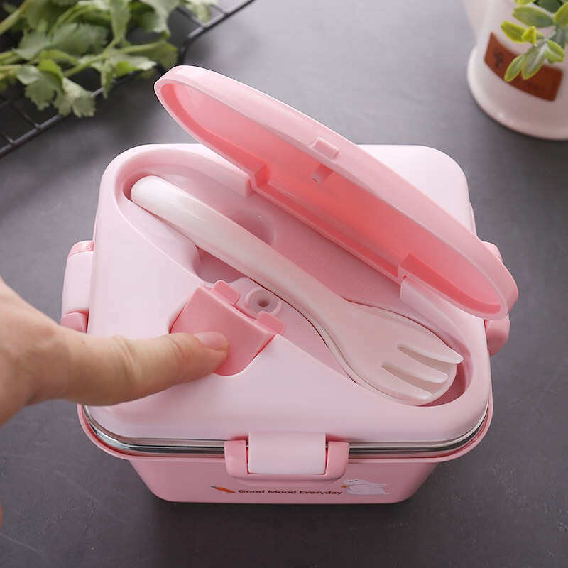 500ml Cartoon Stainless Steel  Lunch Box Kids Leakproof  Bento  Portable Food Container  For Kids Picnic  School Send Tableware