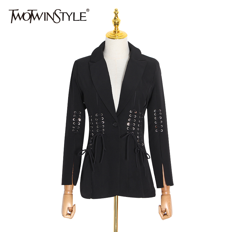 TWOTWINSTYLE Casual Women Blazer Notched Long Sleeve Button Bandage Split Slim Black Female Suit Clothes Spring 2020 Fashion New