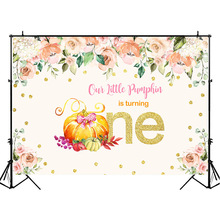 NeoBack First Birthday Backdrop Little Pumpkin 1st Photo Background Autumn Watercolor Flower Photography Backdrops