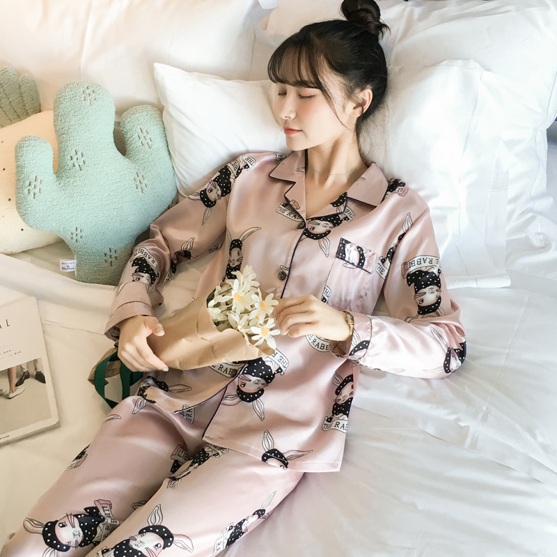 Pajamas Women's Spring And Autumn Long Sleeve Viscose Cute Wei Jin Tu Two-Piece Set Loose Silk-Outer Wear Tracksuit