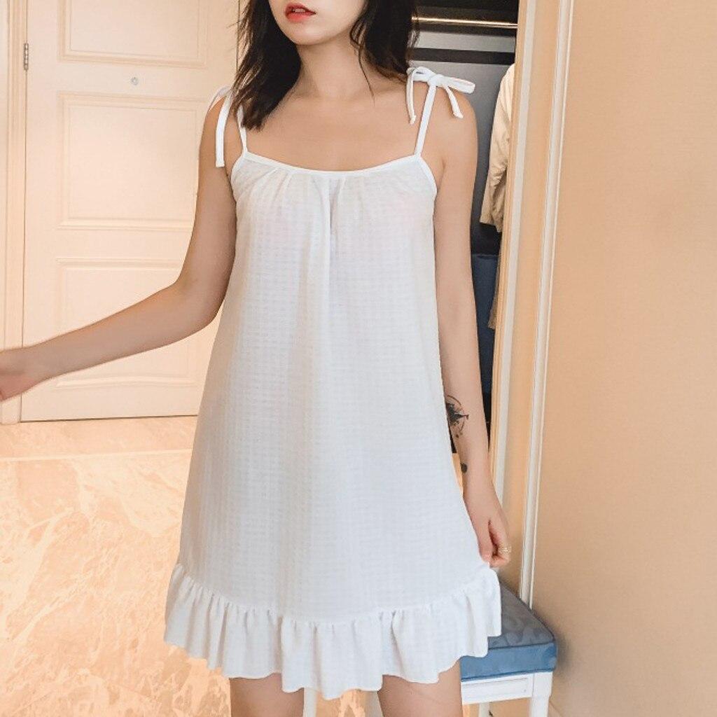 Hot Sexy Women   Nightgown   Sleepwear   Nightgown   Ladies Sleeveless Ruffled Nightdress Home Wear Girl   Sleepshirts   Drop shipping *X