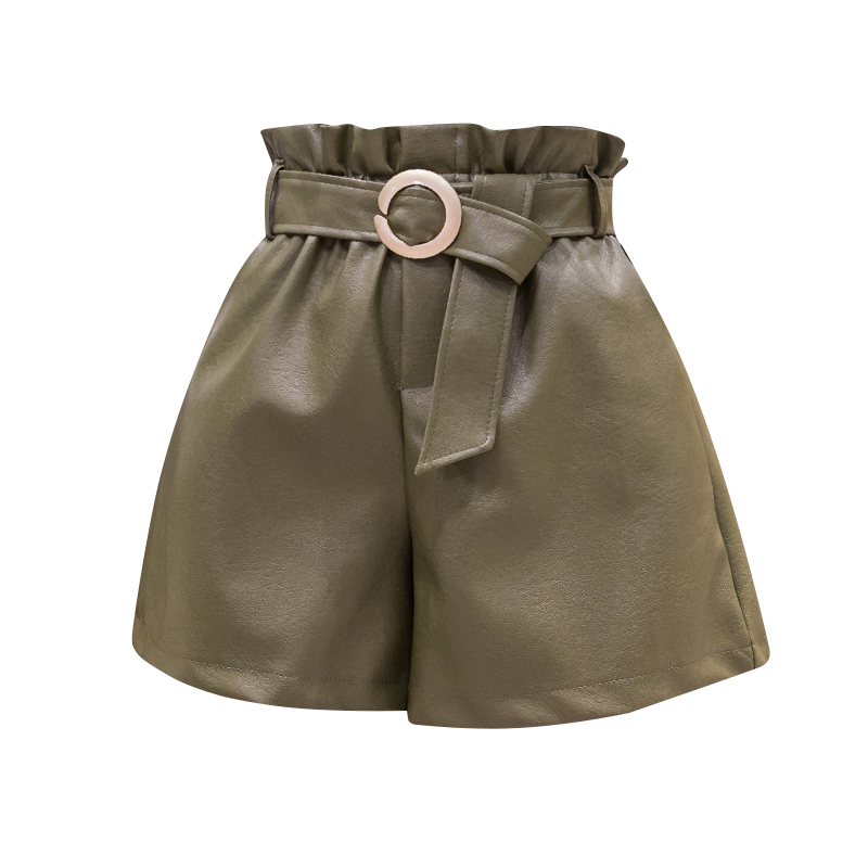 PU Leather Wide-legged Shorts With Slashes Women Autumn Shorts Girls A-line Solid Faux Leather Shorts Bottoms BH6188