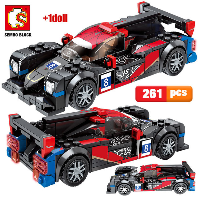 New City Pull Back Super Vehicle Building Blocks Sembo Technic Racing Car MOC Model Creator Bricks Educational Toys For Children