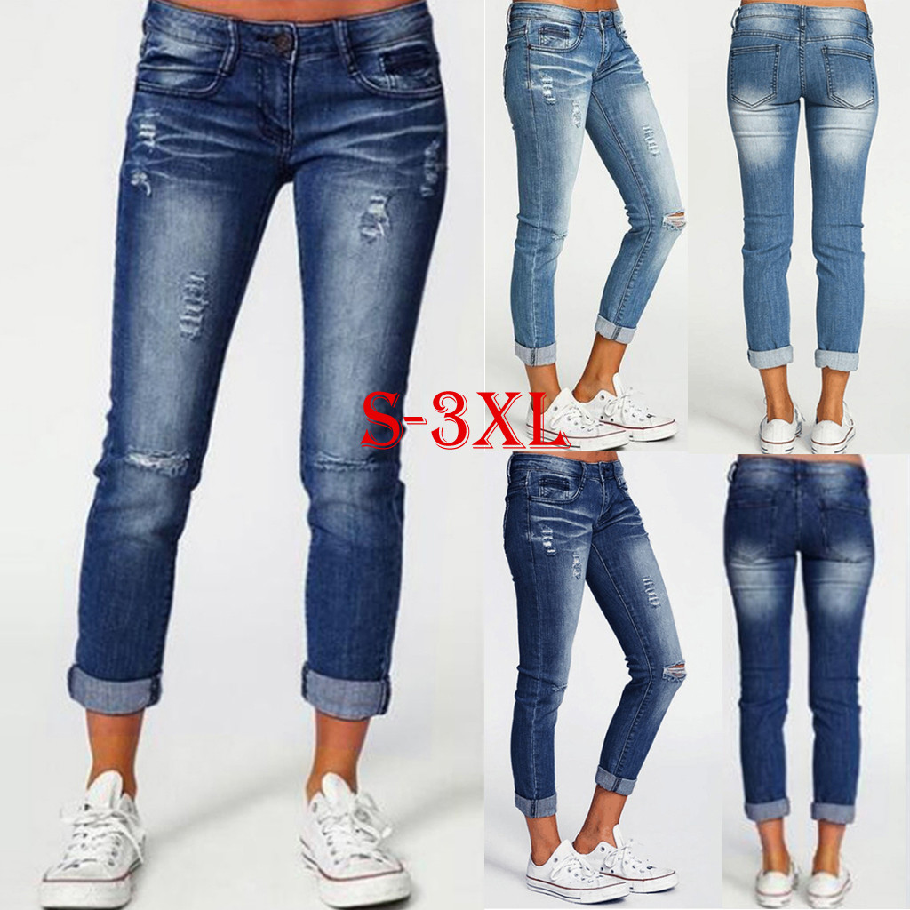 Slim Jeans For Women Jeans Hole Design Woman Blue Denim Pencil Pants Casual High Quality Stretch Waist Women Jeans #35
