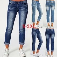 Slim Jeans For Women Jeans Hole Design Woman Blue Denim Penc