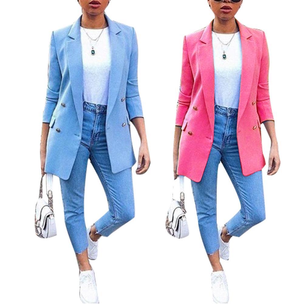Fashion Retro Plus Size Women Blazer Coat Autumn Fashion Office Lady Solid Color Blazer Long Sleeve Suit Jacket 2019 New Trendy