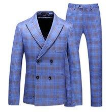 купить Men's Formal Suit 3 Piece Set Business Wedding Banquet Male Grid Suits Jackets with Vest and Pants Slim Elegant Man Sets дешево