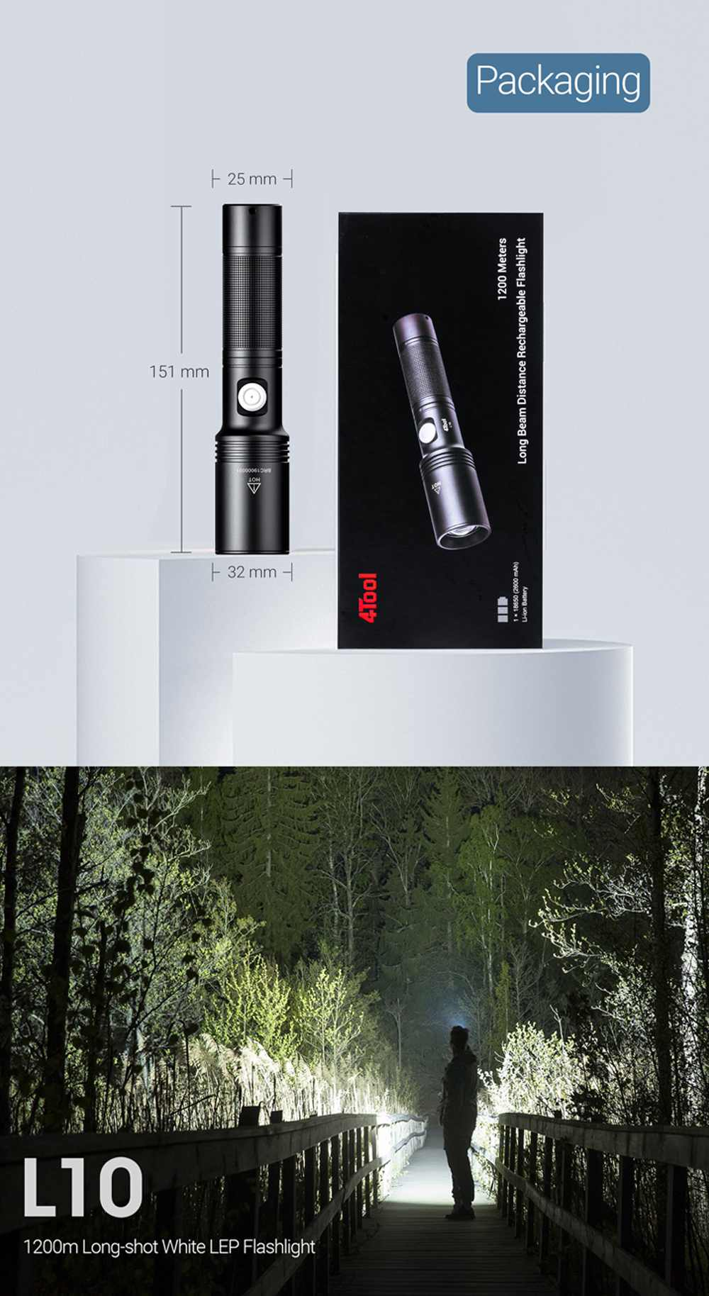 ipx7 iluminação ao ar livre recarregável tocha