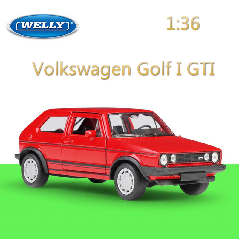 WELLY Diecast 1:36 Pull Back Volkswagen Golf GTI Classic Simulation VW Model Car Alloy Car Metal Toy Car For Kid Gift Collection