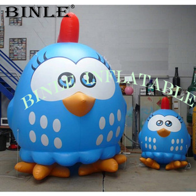 2019 blue color cute inflatable chicken mascot inflatable chicken lottie dottie for indoor decoration