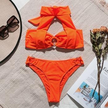 In-X Orange bikini 2019 Sexy high neck swimsuit female Biquinis push up swimwear women Ring bathing suit summer Bathers 2 piece