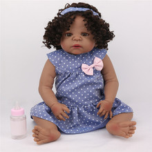 22inch Reborn Toddler Doll Full Vinyl Body Bebe Reborn Inteiro Negra Bebe Bathe Accompanying Toy Bonecas Girl Gifts Brinquedos