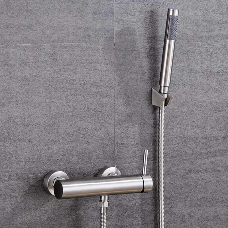 Bath Shower Faucets Set Bathtub Faucet Water Mixer Crane Tap With Hand Shower 304 Stainless Steel Brushed Bathroom Faucets