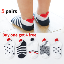 Baby Socks Buy One Get 4 Free 5Pairs lot 0 2Y Cute Lovely Short Red Heart for Girls Cotton New Born Boy Toddler White Sock